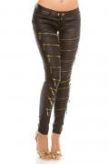 Decoration Zips Leatherlook Pants