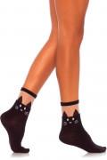 Black Cat Opaque Anklet Socks