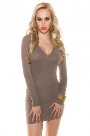Fine Knitted Minidress with Pearls