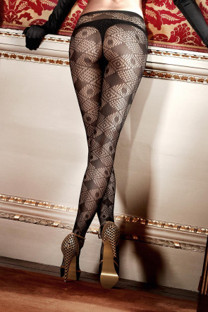 Black Net Diamond Pantyhose