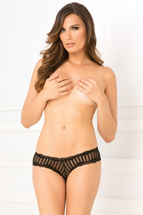 Crotchless Striped Mesh Panty