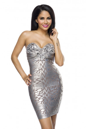 Silver and Jewels Bandage Dress