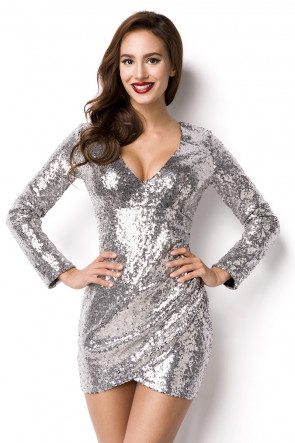 Sølv Sequin Dress