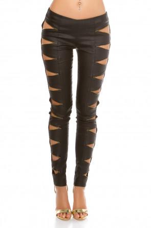 Open Zips Leatherlook Pants