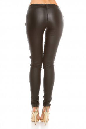 Open Zips Leatherlook Pants