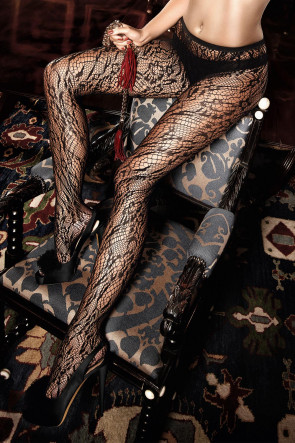 Black Net Pantyhose with Ornaments