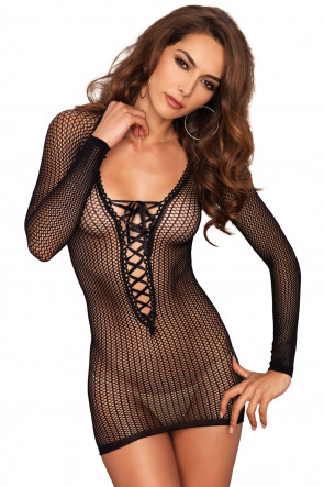 Long Sleeved Net Mini Dress