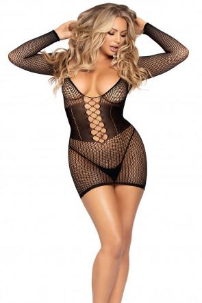 Net Long Sleeve Mini Dress