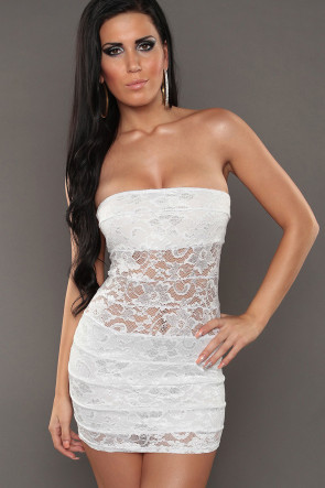 White Bandeau Lace Minidress