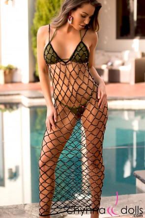Giselle Beaded Crochet Net Dress