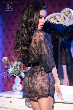 Floral Black Lace Robe