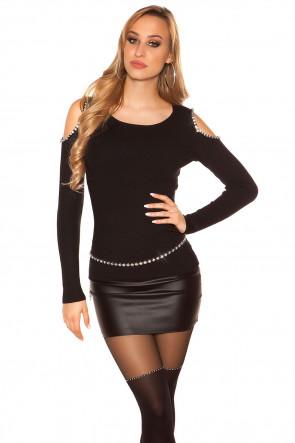 Black Sexy Coldshoulder Sweater with XL Rhinestones