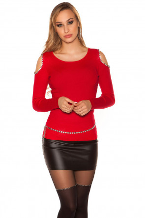 Red Sexy Coldshoulder Sweater with XL Rhinestones