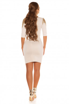 Golden Lace Dress Beige