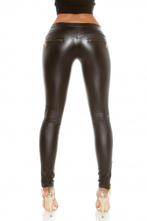 Leather Look Pants with Zips