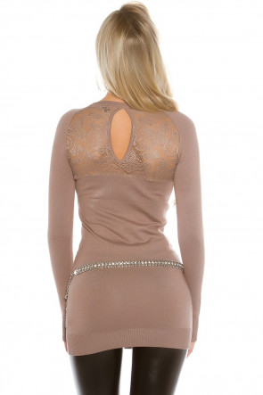 Brown Rhinestones and Lace Top