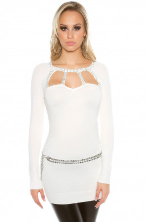 White Rhinestones and Lace Top