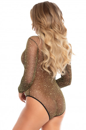 Lurex Bodysuit with Snap Crotch - Black & Gold