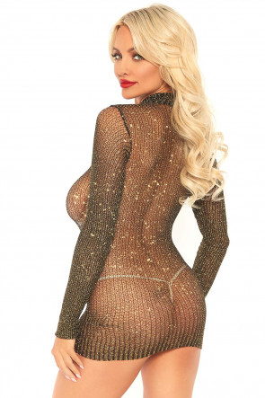 Lurex Sleeved Fishnet Dress