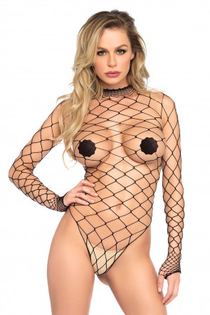 Turtleneck Fishnet Teddy