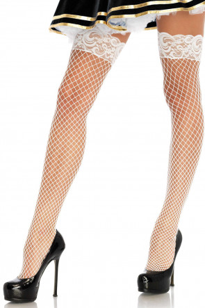 Stay Up Fishnet Thigh Highs vit