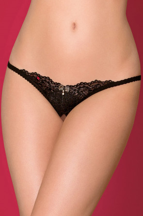 Crotchless Thong with Tiny Bow and Jewel
