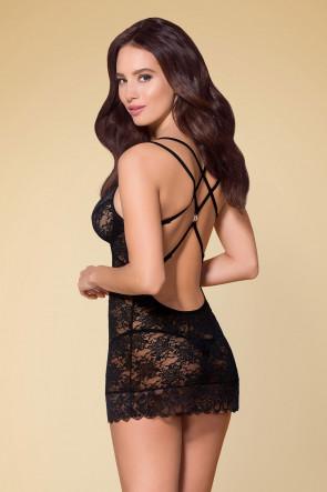Fabulous Lace Chemise & Thong Black
