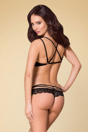 2pc Strappy Flower Lace Set Black