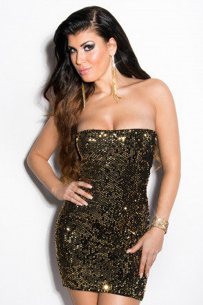Sort/Guld Sequin Party Minidress