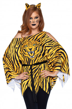 Leg Avenue Tiger Poncho and ear headband
