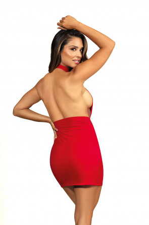 Queen of the Night - Minidress Striped Mesh Red